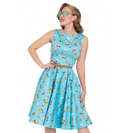 Voodoo Vixen Blue Honey Flared Cat Print Dress