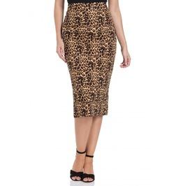 Voodoo Vixen Izzy Leopard Print Wiggle Skirt