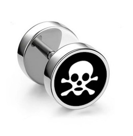 Cool Black Background Skull Crossbones Barbell Screw On Earring Stud X 1