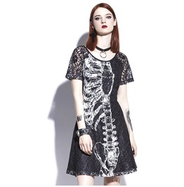 Skeleton Lace Party Dress Womens Skull