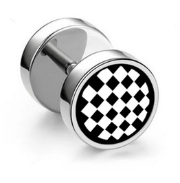 Cool Stainless Steel Checkerboard Design Barbell Screw On Earring Stud X 1