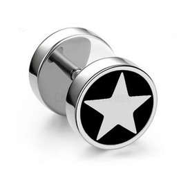 Cool Black Background Star Design Barbell Screw On Earring Stud X 1