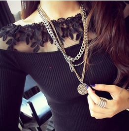 Cool Black Top With Lace Around The Neck Line Size Small
