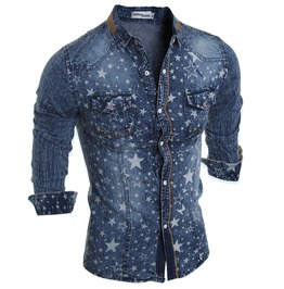 Trendy Star Printed Long Sleeve Pocket Jean Shirt