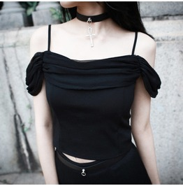 Off Shoulder Goth Crop Top Womens Sexy