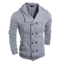 High Fashion Men's Double Breasted Hooded Sweatshirt
