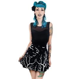 Midnight Sky Trees & Bats Evelyn Mini Skater Dress