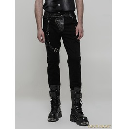 Black Men's Gothic Punk Trousers With Removable Loop Wk 323 Bk