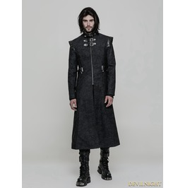 Black Gothic Punk Military Style Handsome Coat For Men Wy 854 B