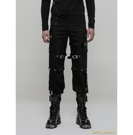 Black Gothic Punk Handsome Uniform Trousers For Men Wk 314