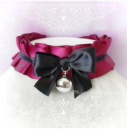 Choker Necklace ,Kitten Play Collar , Ddlg Burgandy Red Black Satin Ruffles