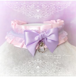 Choker Necklace ,Kitten Play Collar Ddlg , Baby Pink Purple Lace Lilac Bow