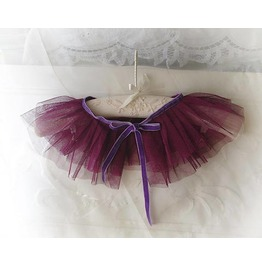 Plum Purple Tulle Detachable Collar Peter Pan Collar Cape Capelet Velvet