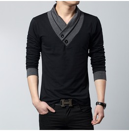 Double Colors Casual Long Sleeve Men Sweater