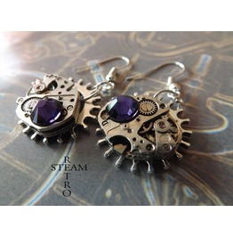 Steampunk Purple Earrings Steampunk Steamretro