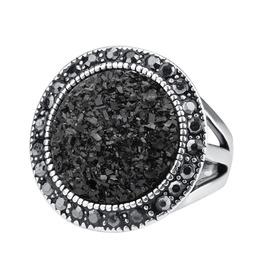 Gothic Black Broken Stone Ring