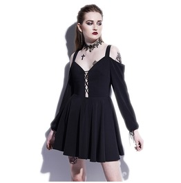 Gothic Lace Up Long Sleeve Women A Line Dress