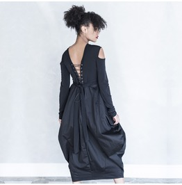 Black Dress, Balloon Dress, Maxi Dress, Open Back Dress, Long Dress, Dress