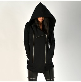 New Collection/Black Long Hooded/Black Long Sweatshirt/Black Maxi Hoodie/Black Cotton Hooded/Black Womens Jacket/Express Delivery With Dhl