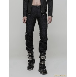 Black Gothic Punk Handsome Uniform Trousers For Men Wk 317