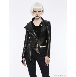 Black Gothic Punk Irregular Shaped Pu Leather Jacket For Women Opy 253