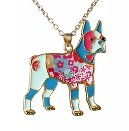 Cool French Bulldog Patchwork Design Pendant On Gold Metal Chain Necklace