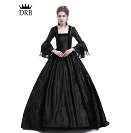 Black Masked Ball Gothic Victorian Costume Dress D3 018