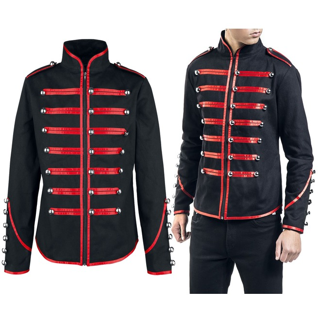 dc675f02a8 Men Military Jacket Gothic Steampunk Drummer Red Parade