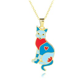 Cool Patchwork Cat Design Pendant On Gold Metal Chain Necklace