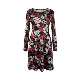 Skull Roses Autumn Winter Casual Long Sleeve Party Dress