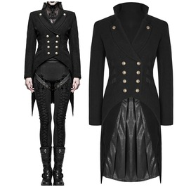 Women Steampunk Military Tailcoat Black Gothic Women Tailcoat Wool Uniform