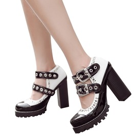 Gothic White Black Solid Pump Ankle Strap And Buckles High Heels