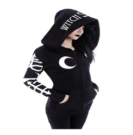 Gothic Punk Witch Moon Hood Black Women Hoodie Sweatshirt