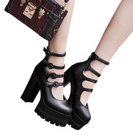 High Fashion Women's Round Buckle Pump High Heels