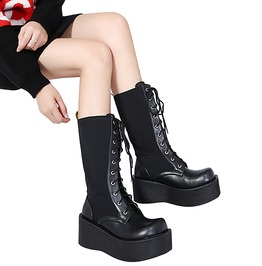 Gothic Black Women's Mid High Lace Up Platform Boots