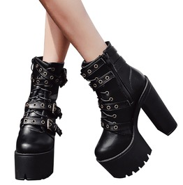 Punk Rock Women's Lace Up With Strap High Heels Boots