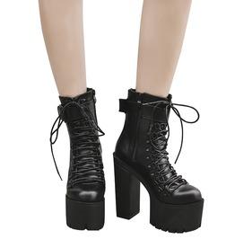 Rocker Women's Ankle Strap Motorcycle High Heels Boots