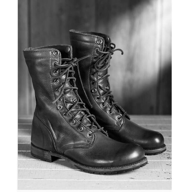 Men Black Combat Boots, Military Style Leather Boots, Army Boot