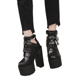 Gothic Black Women's Buckles Ankle Strap High Heels