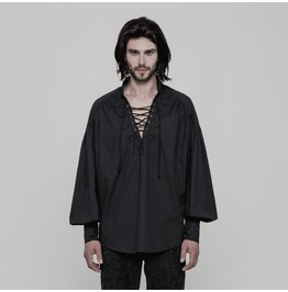 Black Gothic Steampunk Long Sleeve Shirt For Men Wy 848 Bk