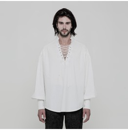 White Gothic Steampunk Long Sleeve Shirt For Men Wy 848 Wh