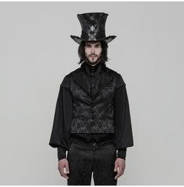 Black Gothic Gorgeous Jacquard Vest For Men Wy 851 Bk