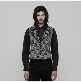 Black And White Gothic Gorgeous Jacquard Vest For Men Wy 851 Bk Wh