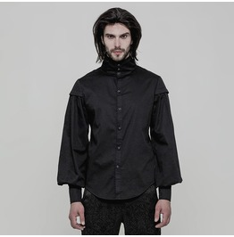 Black Gothic Vintage Gentleman Long Sleeve Blouse For Men Oy 868