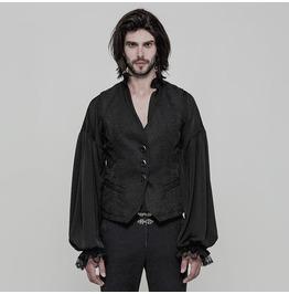 Black Vintage Gothic Jacquard Vest For Men Oy 866