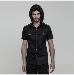 Black Gothic Punk Military Style Short Sleeve Shirt For Men Oy 860