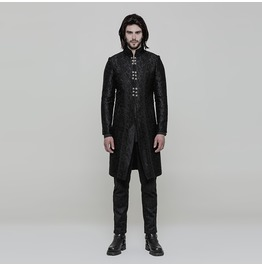 Black Vintage Gothic Gorgeous Jacquard Coat For Men Wy 850