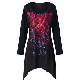Red Rose Print Long Sleeves T Shirt