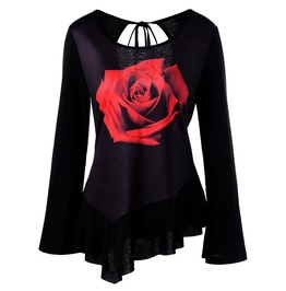 Tie Up Back Red Rose Print Long Sleeves T Shirt