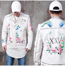 Flower Printed Studded Leather Rider Jacket 127